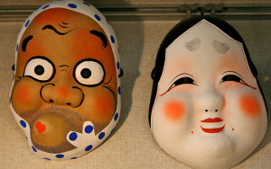These are the best Hyottoko and Okame masks I've seen in a while.  (Asakusa, Japan 2011)