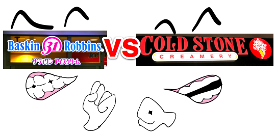 The Battle of the Ice Cream Shops: Baskin Robbins 31 Flavors vs. Cold Stone Creamery