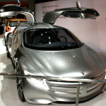 The Mercedes F125.  The coolest looking Mercedes ever!  It has a power train that's powered by hydrogen fuel cells.
