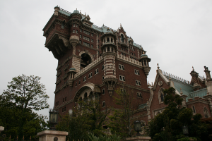 On an overcast day, the Tower of Terror can look downright menacing...gulp!