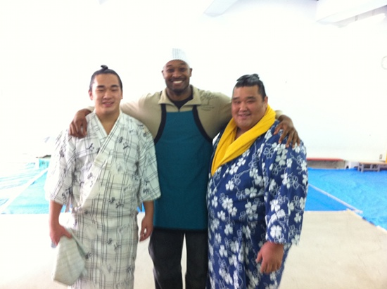 Sumo wrestlers at a mochitsuki