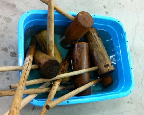 Wooden mochitsuki tools