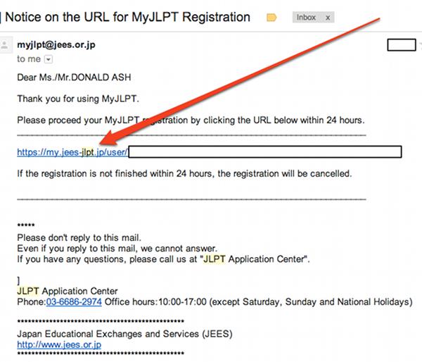Confirmation Email for JLPT Registration